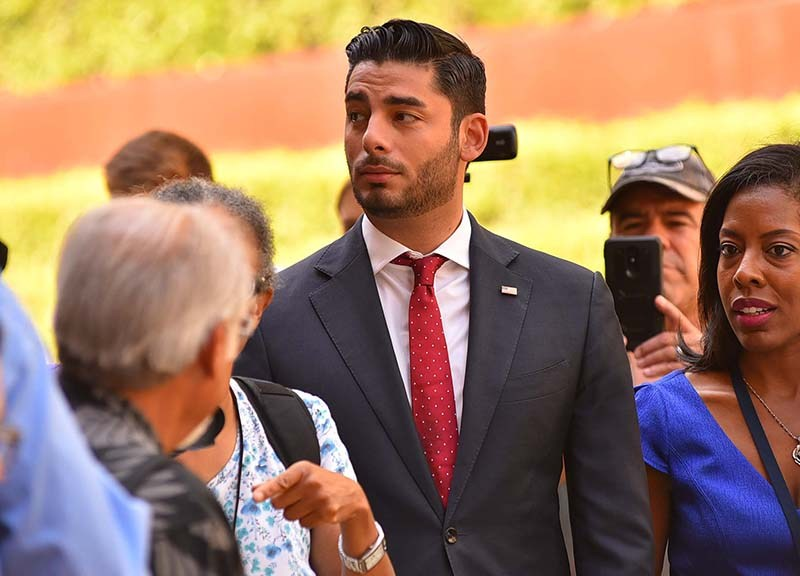 Ammar Campa-Najjar, Democratic candidate for the 50th congressional district, showed up to the federal courthouse after Rep. Duncan D. Hunter's arraignment and spoke to the media and protesters.