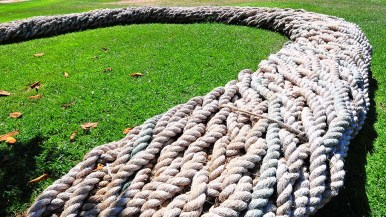 """""""Twineline"""" in the North Promenade is a braided rope bench that brings together cultures past and present. The interwoven rope lines will reflect styles from the Kumeyaay Native tribes to the Navy and modern day sailing."""