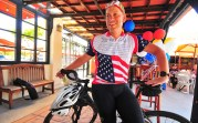 Mark Meuser, Republican candidate for state attorney general, has been campaigning on bike for the past couple of months.