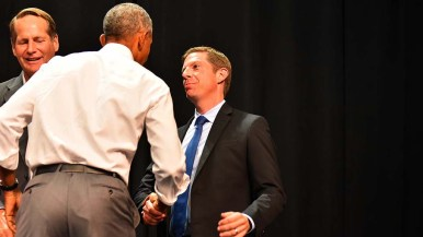 Mike Levin, 49th District congressional candidate, shakes hands with former president Barack Obama in Anaheim.