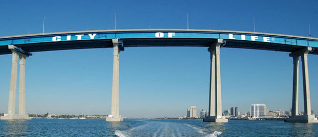 """City of Life"" banner on the Coronado Bridge"