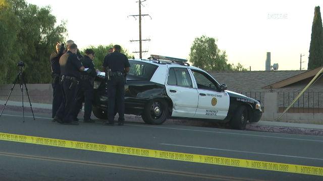 Police cruiser in Skyline crash