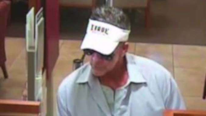 Surveillance camera image of Wells Fargo bank robbery suspect.