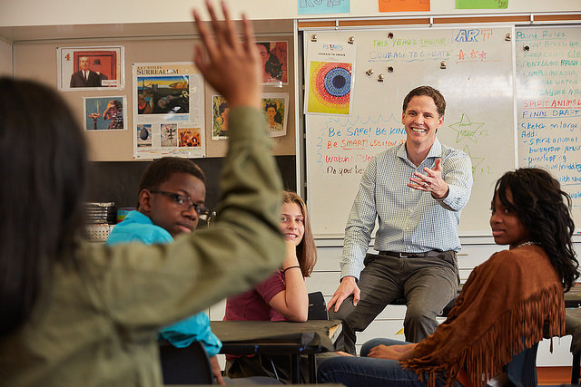 Marshall Tuck answers questions from students