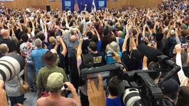 Sen. Bernie Sanders greets packed gym at the start of his 34-minute talk in Oceanside.