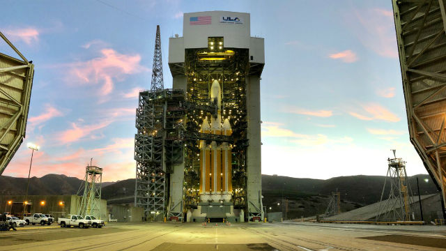 Delta IV Heavy rocket on the launch pad