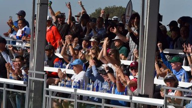 Torrey Pines gallery cheers Tiger Woods on South Course tee-off on Day 1 of Farmers Insurance Open.