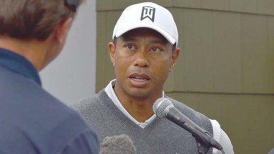 Tiger Woods answers media questions after first round of Farmers Insurance Open.