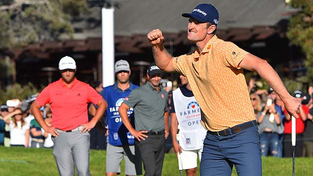 Justin Rose celebrates upon sinking his last putt and winning the Farmers Insurance Open with 21 strokes under par at Torrey Pines Golf Course.