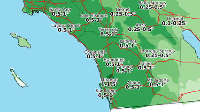 Forecast rainfall from the first of the three storms