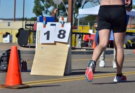 Laps left in 50K (for the leaders at least) were displayed near the finish line. Photo by Ken Stone