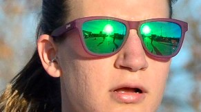 The sun is reflected in shades worn by Jamie Soliva, who took fifth in the women's 20K race.