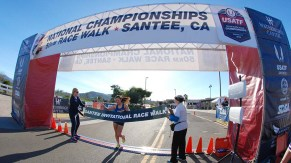 Joean Lu, 19, of Vancouver, British Columbia, wins the women's 10K walk in 54:24