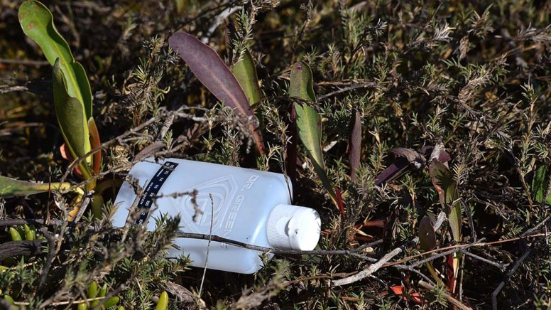 Visitors picked up trash, including plastic bottles, styrofoam and plastic wrap, brought in from the bay.