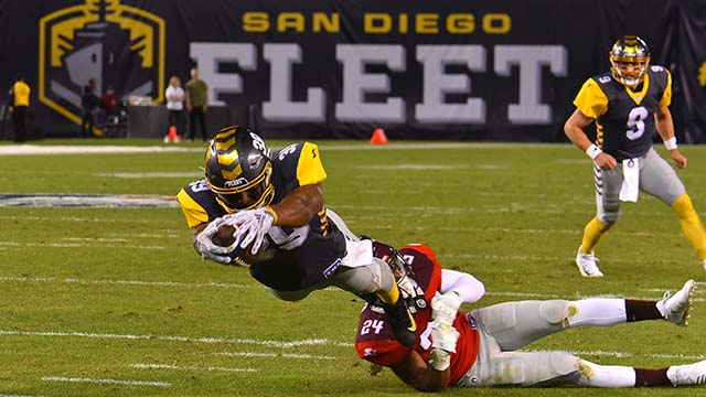 San Diego Fleet running back Terrell Watson drives into the end zone to gain the two points after touchdown.
