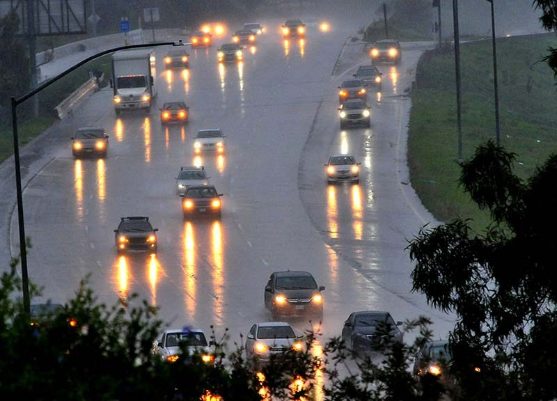 Motorists on State Route 39 faced pouring rain on Saturday afternoon.