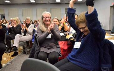 Founding member Ellie Nadler was applauded by fellow La Mesa-Foothills Democratic Club members. She's near leaving the area.