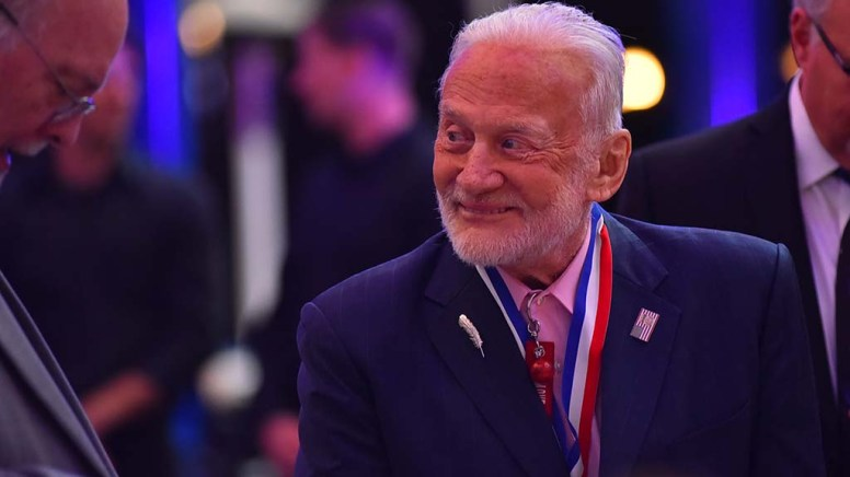 Buzz Aldrin, who followed Neil Armstrong on to the lunar surface in July 1969, surfaced again at the San Diego Air & Space Museum.