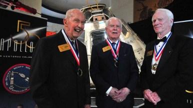 Wearing their Apollo 9 medallions (from left) commander Jim McDivitt, David Scott and Rusty Schweickart.