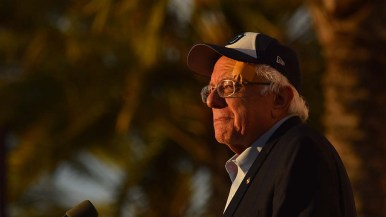 Presidential candidate Bernie Sanders overlooks the crowd of thousands that attended his rally in downtown San Diego.