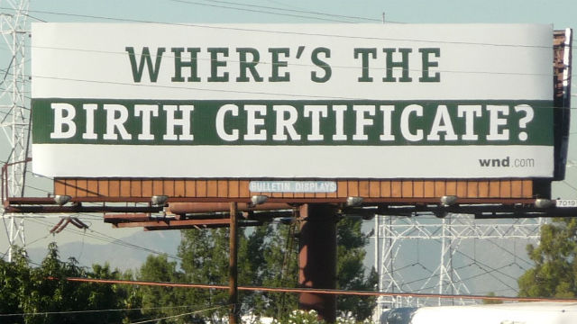 """Birther"" conspiracy billboard"