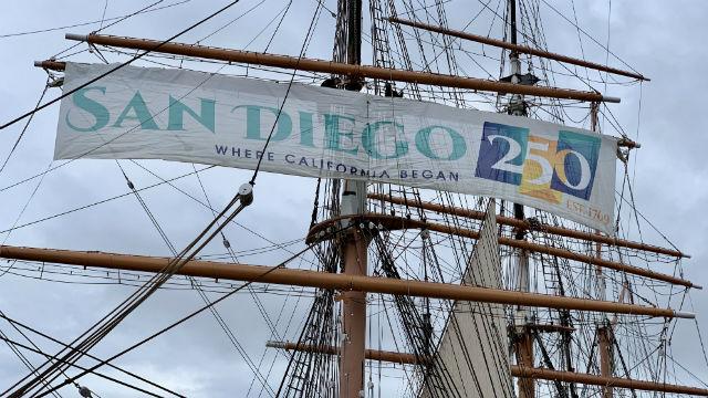 Celebratory San Diego 250 banner