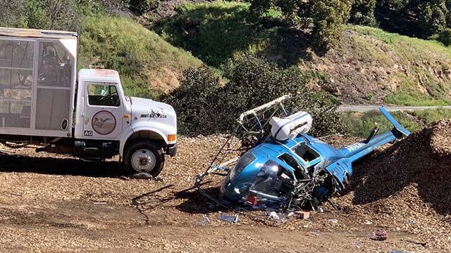 Pesticides-spraying helicopter shown after Valley Center crash.