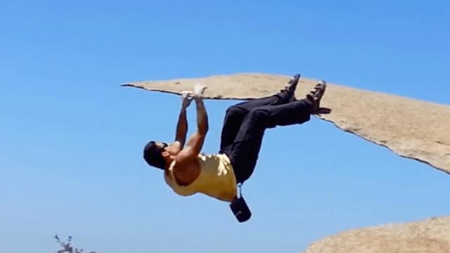 A climber at Potato Chip Rock near Ramona.