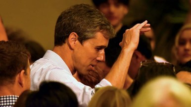 Presidential candidate Beto O'Rourke greets well wishers at a town hall event at the Jacobs Center.