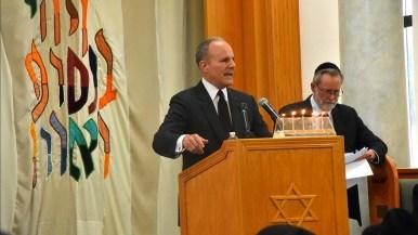Elan Carr, a special envoy, spoke at Lori Kaye's service Monday afternoon.