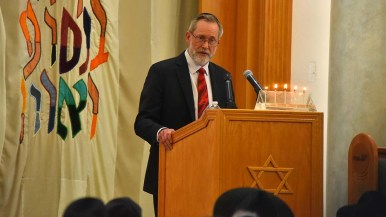 Congregation President Sam Hoffman spoke about rebuilding the community after the attack at the synagogue Saturday.