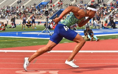 World indoor record holder Michael Norman sprints out of the blocks in the 400m dash at Mt. Sac Relays.