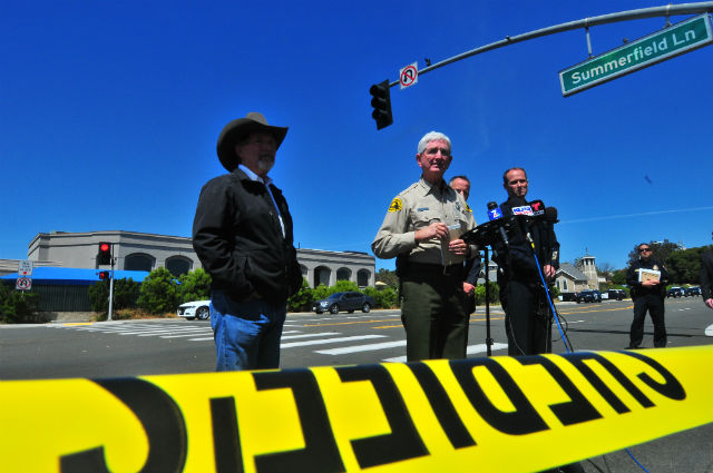 Authorities brief the media about the suspect