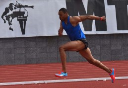 Roderick Townsend-Roberts begins approach during men's invitational high jump at 61st Mt. SAC Relays.