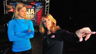 """Jessie Graff (left) didn't run the Los Angeles course but had a chance to see the opening obstacle, """"Shrinking Steps,"""" for another city trial."""