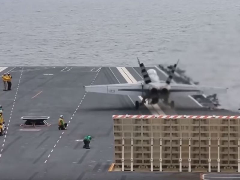 F-18 launched by electric catapult