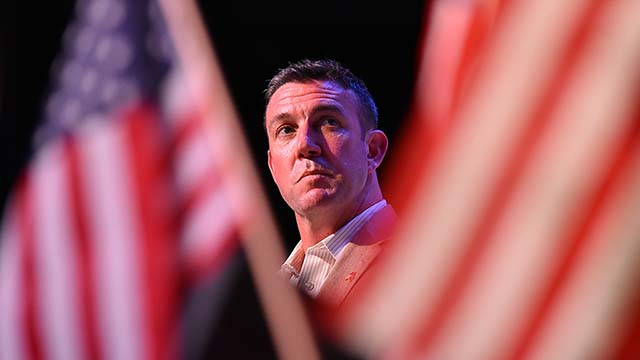Rep. Duncan D. Hunter looks toward event moderator Dan Summers at Ramona forum.