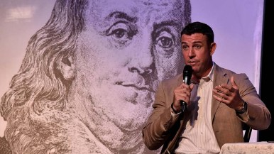An image of Benjamin Franklin was a backdrop to Rep. Duncan D. Hunter at Ramona event.