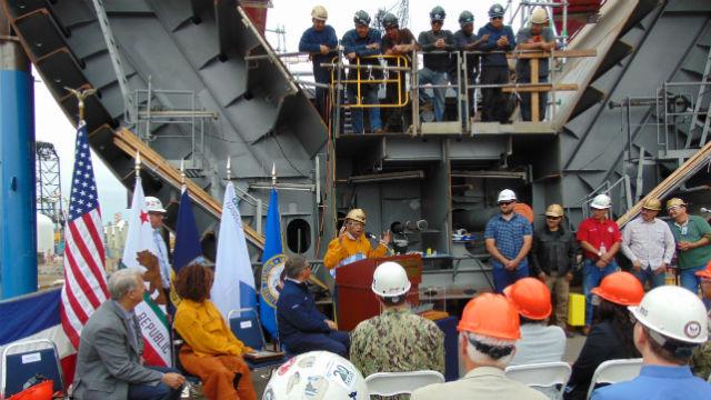 John Lewis addresses NASSCO workers