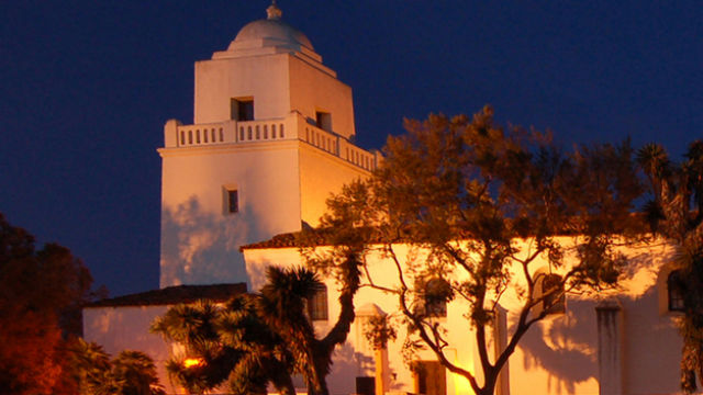 Junipero Serra Museum at night