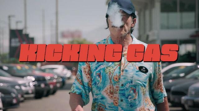 "Arnold Schwarzenegger in scene from ""Kicking Gas"""
