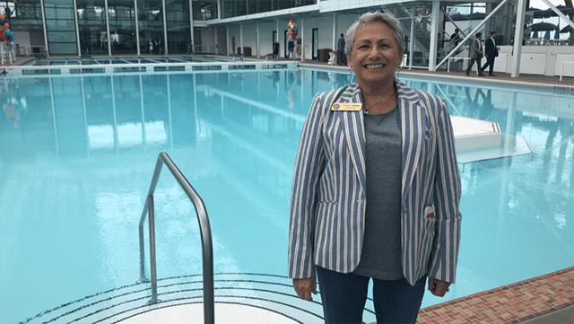 San Diego Councilwoman Jen Campbell poses at renovated Plunge pool in Mission Beach.