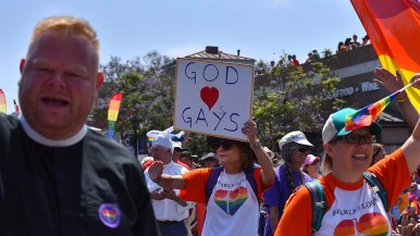 Members of St. Paul's Episcopal Cathedral march in support of the gay community.