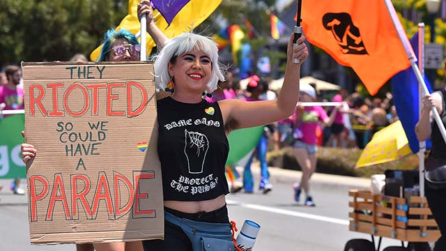 The riots at Stonewall Inn in New York was the theme of this year's San Diego Pride Parade.