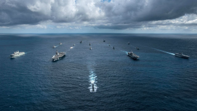 Ships in Talisman Sabre 2019. steam in formation