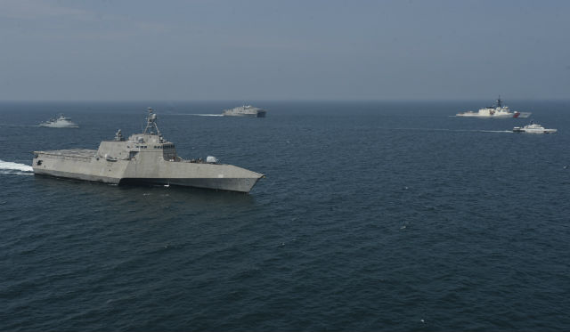 USS Montgomery sails in formation