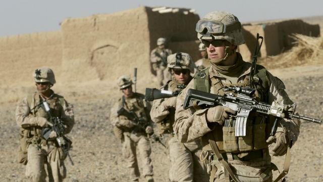 U.S. Maines on patrol in Afghanistan