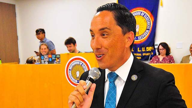 Assemblyman Todd Gloria expresses gratitude for mayor endorsement shortly after results were announced Aug. 13 at the San Diego County Democratic Party Central Committee meeting.