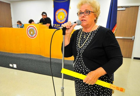 Former county Democratic Party Chair Francine Busby spoke on an agenda item dealing with associate members.