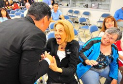 Maria McEneany greets Todd Gloria after giving thanks for being endorsed for mayor.